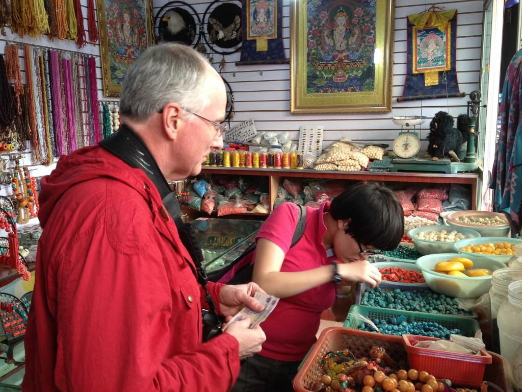 Brad buying stones